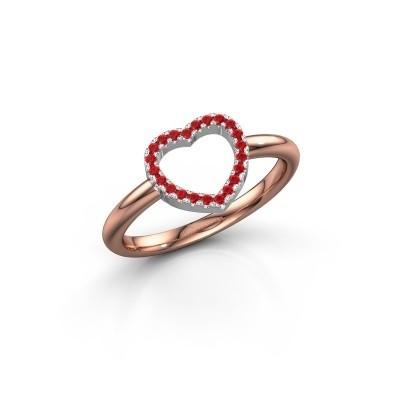 Foto van Ring Heart 7 585 rosé goud robijn 1 mm