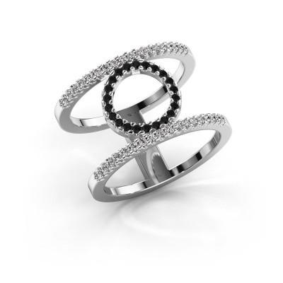 Ring Latoria 2 585 witgoud zwarte diamant 0.43 crt