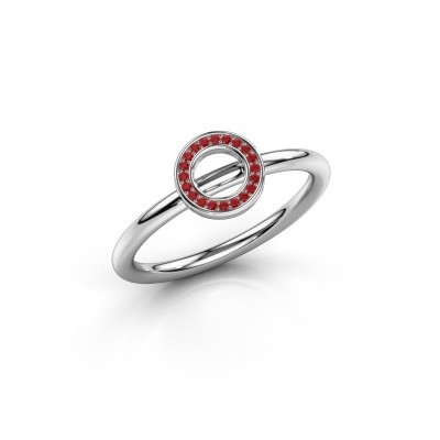Ring Shape round small 925 zilver robijn 0.8 mm