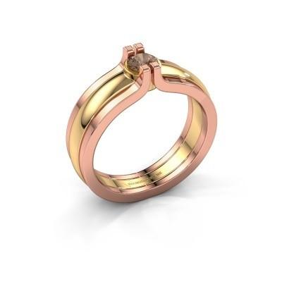 Foto van Ring Jade 585 goud bruine diamant 0.25 crt