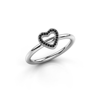 Ring Shape heart small 950 platina zwarte diamant 0.066 crt
