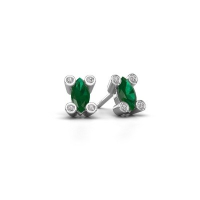 Picture of Stud earrings Cornelia Marquis 925 silver emerald 7x3 mm