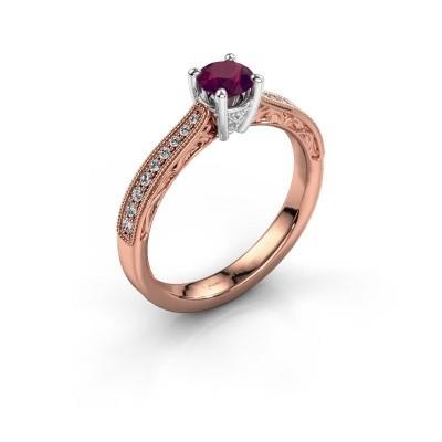 Foto van Belofte ring Shonta RND 585 rosé goud rhodoliet 4.7 mm