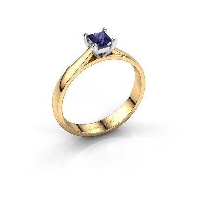 Engagement ring Sam Square 585 gold sapphire 4 mm