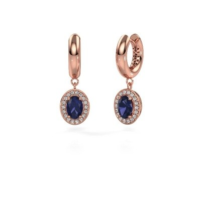 Drop earrings Annett 375 rose gold sapphire 7x5 mm