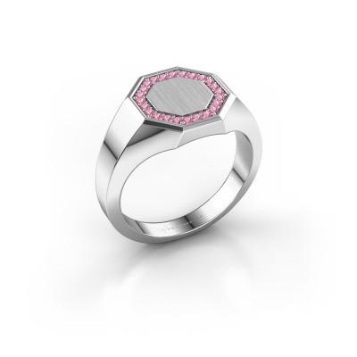 Men's ring Floris Octa 2 375 white gold pink sapphire 1.2 mm