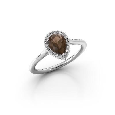 Engagement ring Monique 1 585 white gold smokey quartz 7x5 mm