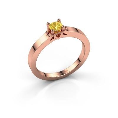 Foto van Belofte ring Eliz 585 rosé goud gele saffier 4.2 mm