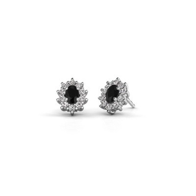 Foto van Oorbellen Leesa 950 platina zwarte diamant 1.800 crt