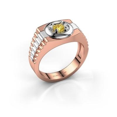Foto van Heren ring Edward 585 rosé goud gele saffier 4.7 mm