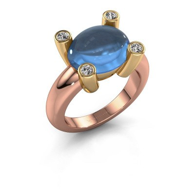 Bague Janice OVL 585 or rose topaze bleue 12x10 mm