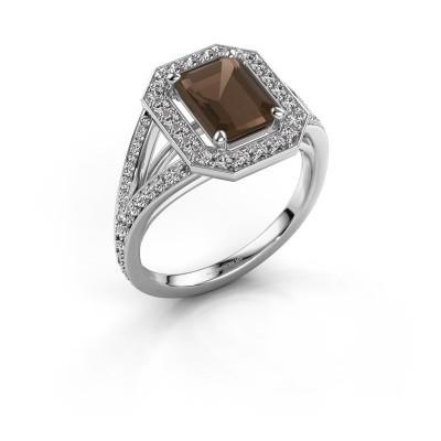 Promise ring Angelita EME 950 platina rookkwarts 8x6 mm