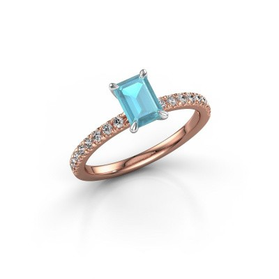 Foto van Verlovingsring Crystal EME 2 585 rosé goud blauw topaas 6.5x4.5 mm