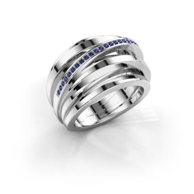 Foto van Ring Swinda 585 witgoud saffier 1 mm