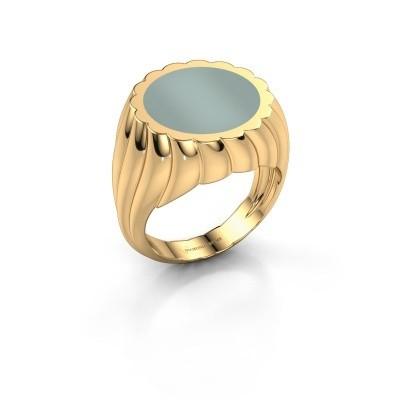 Zegelring Mano 585 goud groene lagensteen 13 mm