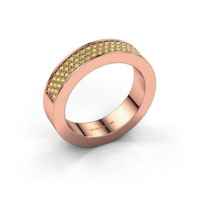 Ring Lindsey 2 375 rosé goud gele saffier 1.1 mm