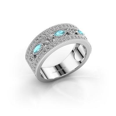 Ring Henna 585 witgoud blauw topaas 4x2 mm
