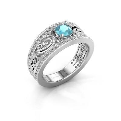 Foto van Verlovingsring Julliana 585 witgoud blauw topaas 5 mm
