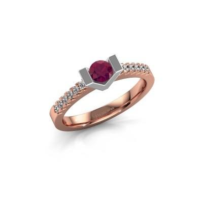 Verlovingsring Sherley 2 585 rosé goud rhodoliet 4 mm