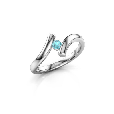 Ring Amy 585 witgoud blauw topaas 3 mm