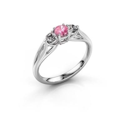 Foto van Verlovingsring Amie RND 585 witgoud roze saffier 4.2 mm