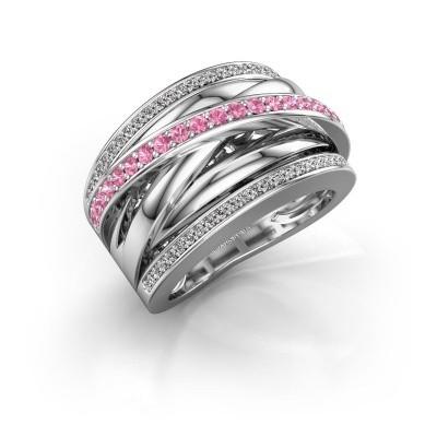 Foto van Ring Clair 2 925 zilver roze saffier 1.5 mm
