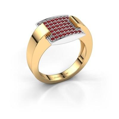 Ring Silke 585 goud robijn 1.2 mm