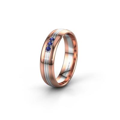 Trouwring WH0405L35X 585 rosé goud saffier ±5x1.5 mm