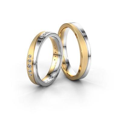Foto van Trouwringen set WH0901LM14A20SMP ±4x1.7 mm 14 karaat goud diamant 0.02 crt