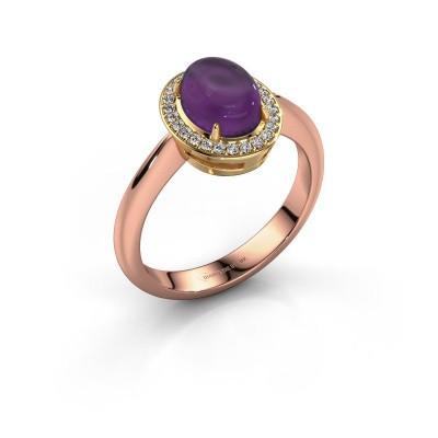 Ring Kristian 585 rose gold amethyst 8x6 mm