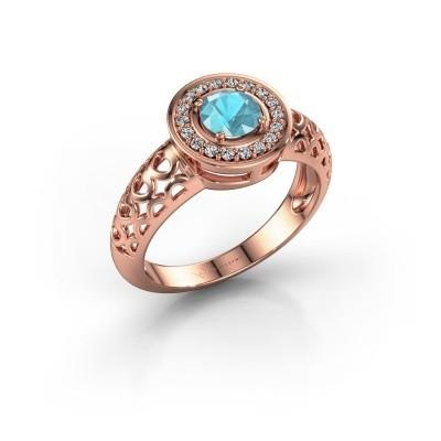 Foto van Ring Katalina 375 rosé goud blauw topaas 5 mm