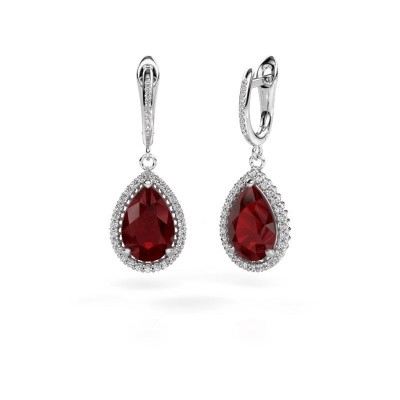 Drop earrings Hana 2 950 platinum ruby 12x8 mm