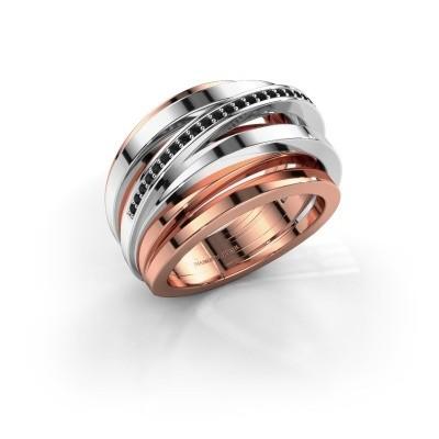 Ring Swinda 585 rosé goud zwarte diamant 0.15 crt
