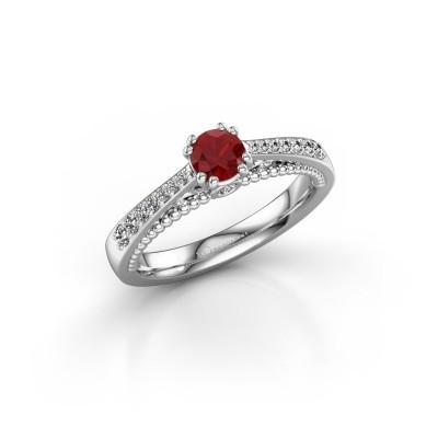 Photo de Bague de fiançailles Rozella 585 or blanc rubis 4.2 mm