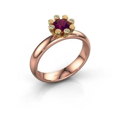 Stapelring Carola 2 585 rosé goud rhodoliet 5 mm