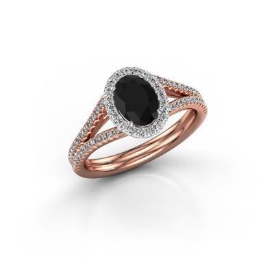 Verlovingsring Rachele 2 585 rosé goud zwarte diamant 1.334 crt