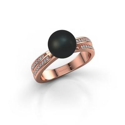 Foto van Ring Jolies 375 rosé goud zwarte parel 8 mm