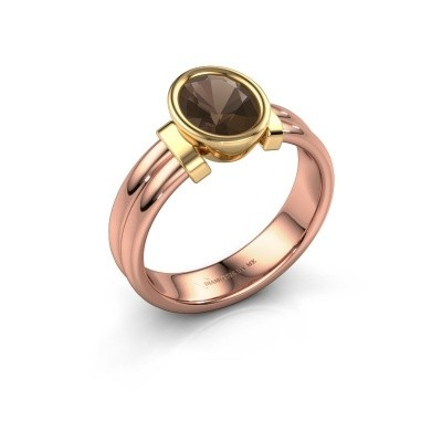 Ring Gerda 585 rose gold smokey quartz 8x6 mm