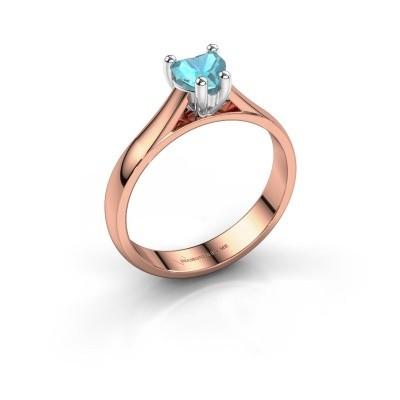 Verlobungsring Sam Heart 585 Roségold Blau Topas 5 mm