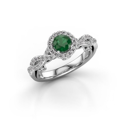 Verlovingsring Madeleine 950 platina smaragd 5 mm