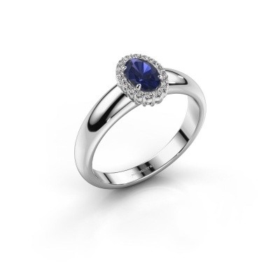 Engagement ring Tamie 925 silver sapphire 6x4 mm