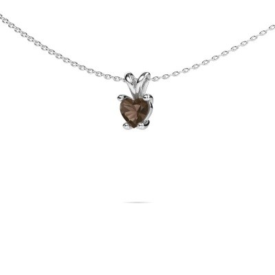 Foto van Ketting Sam Heart 925 zilver rookkwarts 5 mm