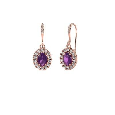 Picture of Drop earrings Jorinda 2 375 rose gold amethyst 7x5 mm