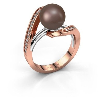 Ring Amber 585 rosé goud bruine parel 9 mm
