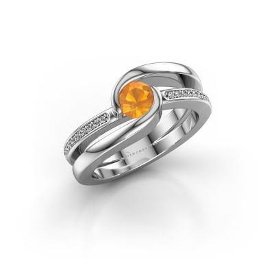 Bild von Ring Xenia 2 375 Weißgold Citrin 5 mm
