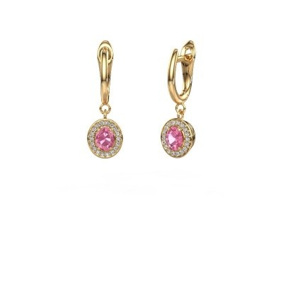 Drop earrings Nakita 375 gold pink sapphire 5x4 mm
