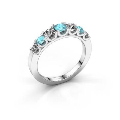 Foto van Verlovingsring Selina 3 585 witgoud blauw topaas 3.7 mm