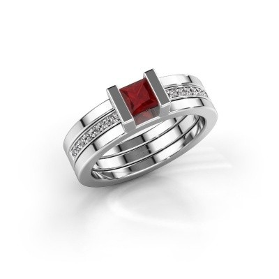 Photo de Bague Desire 585 or blanc rubis 4 mm