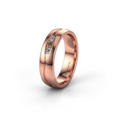 Wedding ring WH0172L25A 375 rose gold brown diamond ±5x1.7 mm