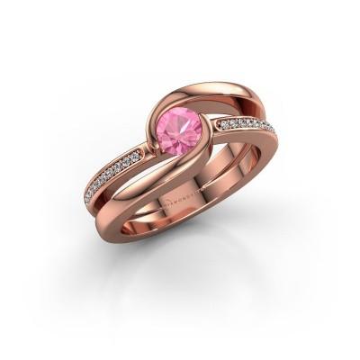 Foto van Ring Xenia 2 375 rosé goud roze saffier 5 mm